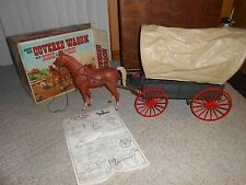 Vintage 1968 JOHNNY WEST COVERED WAGON HORSE & HARNESS in ORIGINAL BOX TOY