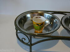 set of 2 VERY LARGE RAISED  bowls for medium and large dogs. Wrought iron New