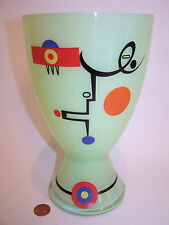 D. MARKOVIC RITZENHOFF Art Deco Green Glass FACE Vase EX NR
