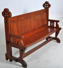 Fine antique Gothic Reform Revival pine church altar pew bench A. W. Pugin 1870