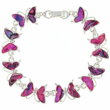 BEAUTIFUL PINK GENUINE ABALONE PAUA SHELL BUTTERFLY BRACELET GIFT BOXED