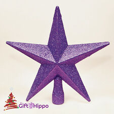 Christmas Decoration - Star Christmas Tree Topper - Purple Glitter Star - 20CM