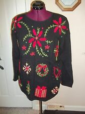 KATHIE LEE LADIES SIZE L.  CHRISTMAS SWEATER BLACK, RED LONG SLEEVES PULLOVER