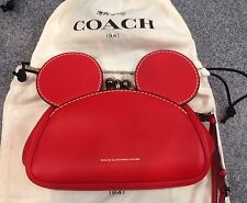 DISNEY X COACH Limited Edition Mickey Mouse Kisslock Wristlet RED