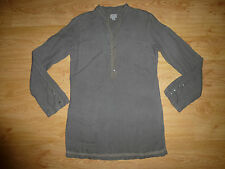 LADIES HARTFORD LACE KHAKI LONG SLEEVE MANDARIN NECK LINEN TUNIC TOP SIZE 1 – S