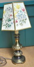 Vintage Antique Brass Table Lamp 6224 with Floral Octagon Cardboard Lampshade