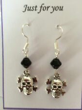 SCULL CROSS BONES SILVER  EARRINGS PUNK  EMO, GOTHIC GIFT PRESENT