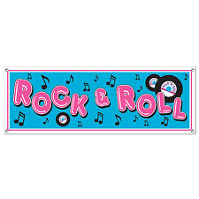 50's Diner Rock N Roll Sock Hop Banner Sign Birthday party decoration