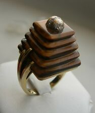 UNUSUAL ESTATE 14K YELLOW GOLD TIGER EYE AND DIAMOND RING 13.8 GR