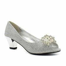 Womens Low Kitten Heel Diamante Bridal Court Shoes Ladies Peep Toe Party Wedding