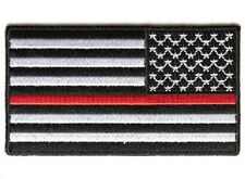 "(B34) REVERSED RED LINE US FLAG 3.5"" x 2"" sew / iron on patch (4450) Firefighter"