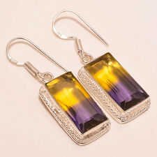 "MARVELOUS FINE CUT AMETRINE HANDMADE GEM JEWELRY 925 SILVER EARRING 1.69"" SE-52"