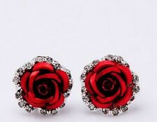 SILVER PLATED & CRYSTAL RED ROSE FLOWER EARRINGS