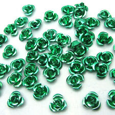 New Loose100pcs 8mm Aluminum Flowers for Embellishment Craft Accessories Green