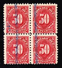 US J58 50c Postage Due Used Perf 10 Block of 4 F-VF appr Extrem Scarce SCV $7000