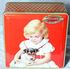 "SUPER VINTAGE JACOBS BISCUIT TIN C1950s ""GOOD COMPANIONS""DOG TERRIER PUPPY"