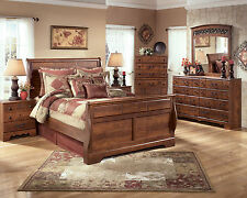 STELLA - 5pcs OLD WORLD COTTAGE CHERRY BROWN QUEEN SLEIGH BEDROOM SET FURNITURE