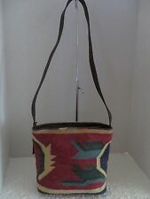 KILM CARPET LEGACY RUG MULTI COLORED DESIGN & LEATHER SHOULDER BAG PURSE