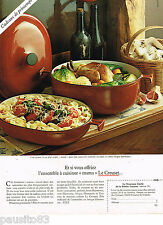PUBLICITE ADVERTISING 055  1979  LE CREUSET  cocotte & plat MAMA