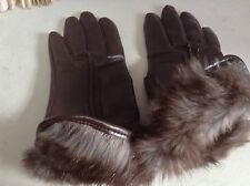 Vintage SOFT Brown FauxLeather & Rabbit Fur Cuffs Gloves M/l