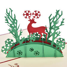 3D Pop Up Holiday Greeting Cards Deer Jesus Reindeer Christmas Thanksgiving MW