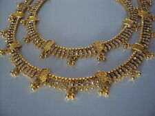 Gold plated white stone studded anklets payal (length 10.5 inches, 8 mm wide)
