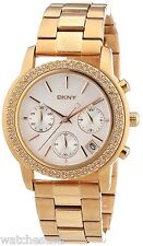 DKNY Women's Mother of Pearl Dial Rose Gold Tone Glitz Chronograph Watch NY8432