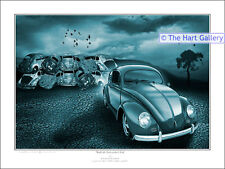 VW Volkswagen Beetle Bug FANTASY ART PRINT PICTURE firmato LIMITED EDITION
