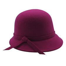 Fuchsia Violet Femmes Cloche Chapeau Bob Laine Chapeau Melon Mode Trendy Femmes