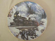 WINTER CROSSING collector plate TED XARAS Railroad TRAIN