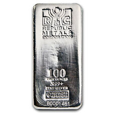 100 oz Republic Metals Corporation Silver Bar - SKU #84703