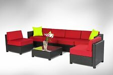 7pcs Wicker Patio Sectional Outdoor Sofa Furniture set With Coffee Table burgund