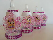 12 Minnie Mouse Pink Fillable Bottles Baby Shower Favors Prizes Girl Decorations