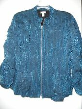 Chicos Green Teal Full Zip Jacket Rayon Poly Blend Crinkle Wrinkle 3 L XL