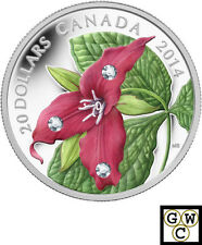 2014 'Red Trillium' Colorized and Crystallized Proof $20 Silver coin (13977)