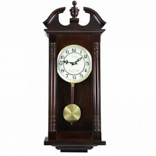 "Bedford Clock Collection 27.5"" Classic Chiming Wall Clock With Swinging Pendulum"