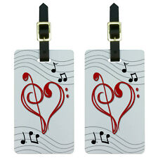 Music Heart - Love Treble Bass Clef Notes Staff Luggage ID Tags Set of 2
