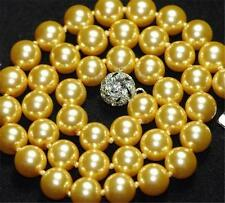 """10mm South Golden Sea Shell Pearl Round Beads Necklace 18"""" AAA"""