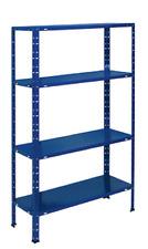 Kit scaffale aste spezzate 4 ripiani casellario in metallo azzurro  75X30X150