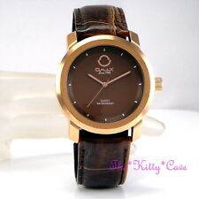 OMAX Waterproof Rose Gold Pl Steel Seiko Movt Brown Leather Lupah Watch S001R551