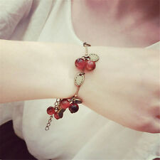 New Vintage Copper Sweet Red Cherry Alloy Strand Chain Bracelets For Women Gifts