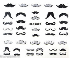 Nail Art Stickers Black Silver Glitter Moustache Movember Decoration Gel Polish