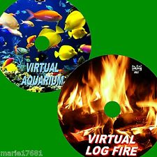 VIRTUAL AQUARIUM + LOGFIRE GREAT TWIN DVD VIDEO SET VIEW ON FLATSCREEN TV/PC NEW