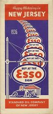 1936 ESSO STANDARD OIL Gas Station Road Map NEW JERSEY Pulaski Skyway Boardwalk
