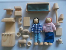 New Wooden Dolls House Accessory Set With Wooden People, Figures & Pets