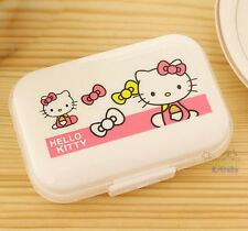 New Cute Hello Kitty Pill Box Organizer Medicine Vitamin Storage Travel White