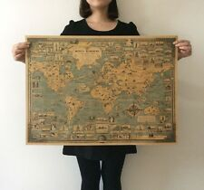 World wonders a pictorial map Vintage Wall Paper Poster 28x20inch(71*51.5cm)