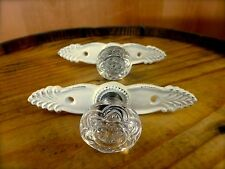 2 WHITE ANTIQUE-STYLE FRENCH PULLS CLEAR KNOB DRAWER CABINET HANDLE vintage chic