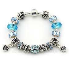 European 925 Silver Crystal Charm Bracelet for Women With Blue Murano Glass DIY