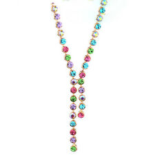 DF100 Swarovski Multi Color Crystal Linked Handmade Necklace $110